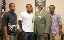 The three newest UAPB USDA/1890 National Scholars are (left-right) Elijah Muhammad, agriculture major, Chicago; Matthew Dismuke, plant science major, Camden, Ark.;  and Michael Jones, (extreme right), regulatory sciences/ environmental sciences major, Monticello, Ark.; with  George Richardson, USDA/1890 program liaison.