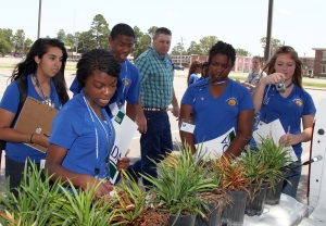 Students participate in a plant inspection exercise at UAPB during the AgDiscovery summer program.