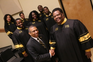 UAPB Chancellor Dr. Laurence B. Alexander is pictured with Vesper Choir Director and Interim Music Department Chair Dr. Michael Bates along with a some of the members of the 65 voice ensemble: (1st row, l-r) Gerald Jones, Jr., Deidre' Mays, Makonnen Acker-Moorehead, (2nd row, l-r)Tanee Newey, Jamaal Courtney and Demaijah Newman. Photo by Brian T. Williams