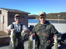 Aaron Porterfield, undergraduate student of fisheries biology, left, and Matt Skoog, graduate student of aquaculture and fisheries management, right, took first place at the fall bass tournament of the Arkansas Collegiate Series on Nov. 1.