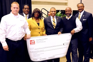 (L-R) Carey Beevers, Haas Specialist from Haas Factory Outlet in Little Rock, Larry B. Cooper, chairman of the UAPB Foundation Fund Board, Felecia Webb, ITMAE instructor, UAPB Chancellor Dr. Laurence B. Alexander, Dr. Charles Colen, chair of the ITMAE department, and Vice Chancellor for Institutional Advancement and Development James B. Tyson, CFRE