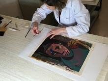 Conservator Joanna Didik treating ASC Collection