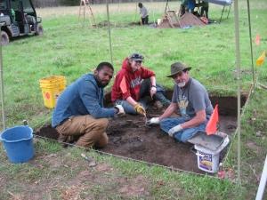 Volunteers Jamal Harvey, Gabrielle Clemons, and Rusty Eisenhower excavating at Arkansas Post National Memorial Osotouy Unit