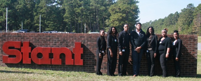 (Left to right) Victoria Hearns, junior, Business Administration – Management, Maywood, IL; Bregina Dickerson, senior, Accounting major, Pine Bluff, AR; Corvonte Dowdy, junior, Industrial Technology Management and Applied Engineering major, Lake Village, AR; Christopher Dutton, senior, Industrial Technology Management and Applied Engineering major, Pine Bluff, AR; Laneshia Booker, junior, Industrial Technology Management and Applied Engineering major, Chicago, IL; La'Keesha Franklin, senior, Industrial Technology Management and Applied Engineering major, Pine Bluff, AR; and Rachel McAfee, senior, Accounting major, Pine Bluff, AR. Not Pictured: Meagon Jones, senior, Accounting major, Arlington, TX.