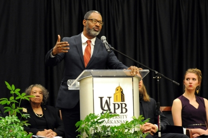 Cory S. Anderson, executive vice president of the Winthrop Rockefeller Foundation speaking at Fall Convocation at UAPB