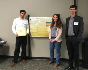 Ciji Ramos is pictured with his certificate for Outstanding Student Poster at the Arkansas Psychology Association Conference. Pictured with him is associate psychology professors Dr. Angela Andrade and Dr. Anthony Austin.